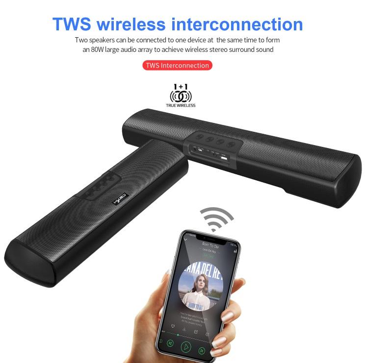 TG Bluetooth Speaker Loudspeaker Wireless Mini Column 3D 10W Stereo Music Surround Support FM TFCard Bass Box black