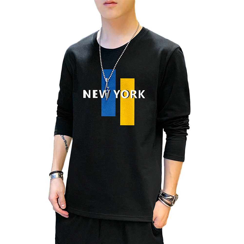 Men's T-shirt Long-sleeve Thin Type Crew-neck Loose Large Size Bottoming Shirt black_L