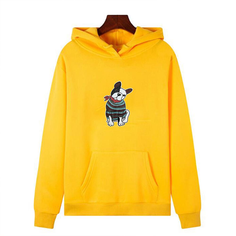 Men's Hoodie Fall Winter Cartoon Print Plus Size Hooded Tops Yellow _,M