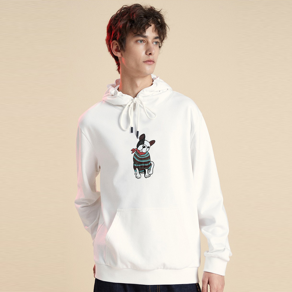 Men's Hoodie Fall Winter Cartoon Print Plus Size Hooded Tops White _XXL