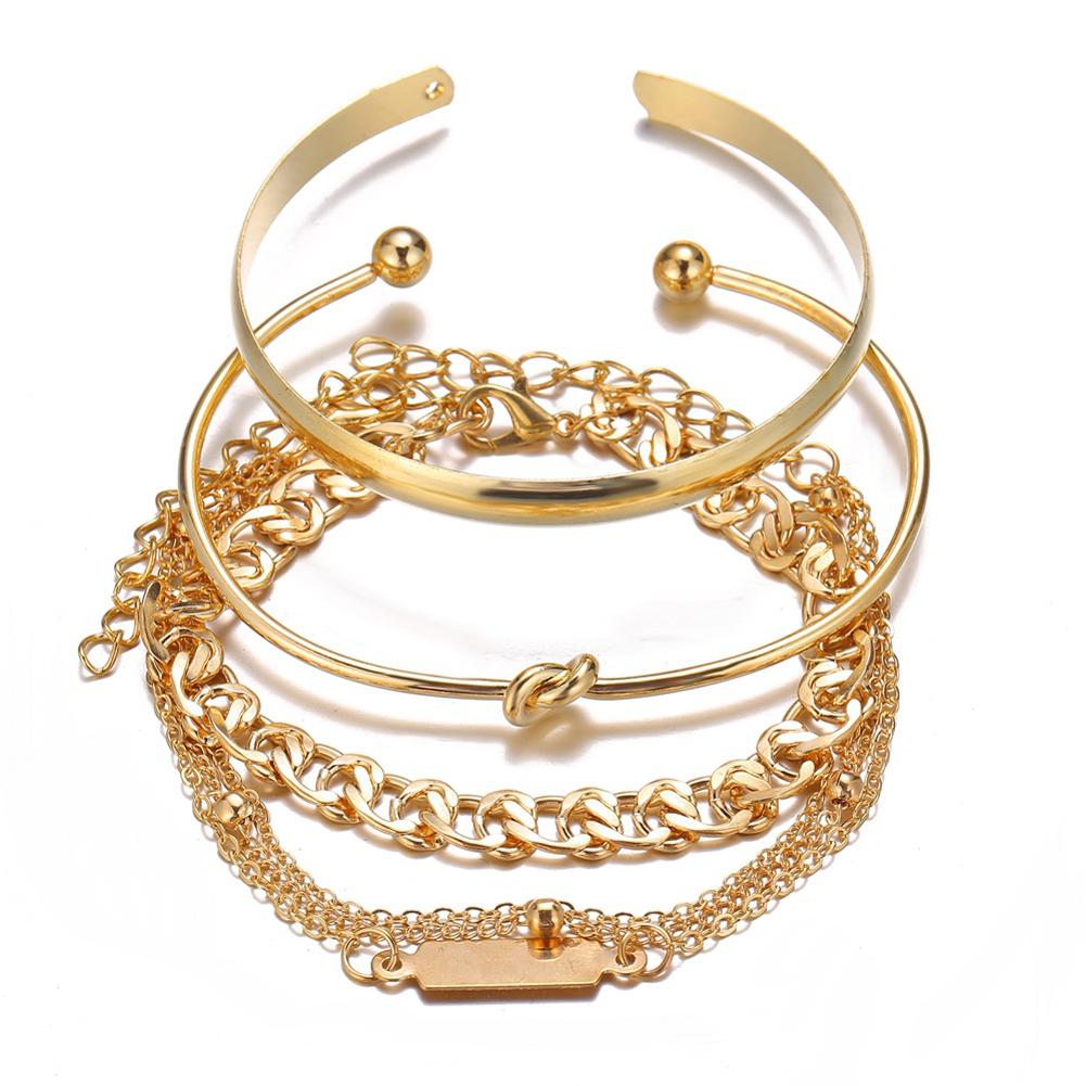 4 Pcs/set Women's Bracelet Simple Style Chain Ring-shape Bracelet Golden