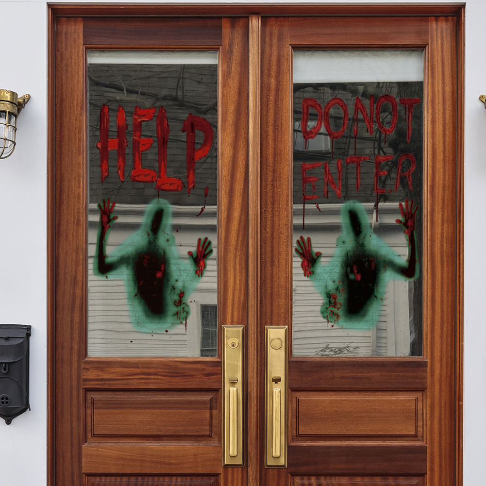 Halloween Help Blood Zombie Wall Sticker Decoration for Living Room Bedroom Window Glass As shown