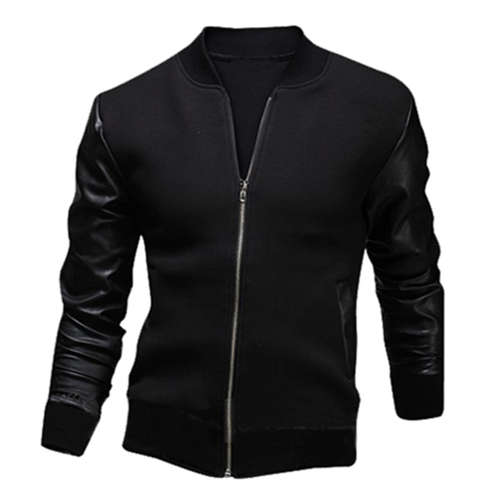 Casual Zippered Top Stand Collar Coat Long Sleeves Baseball Jacket Outwear for Man black_(L)