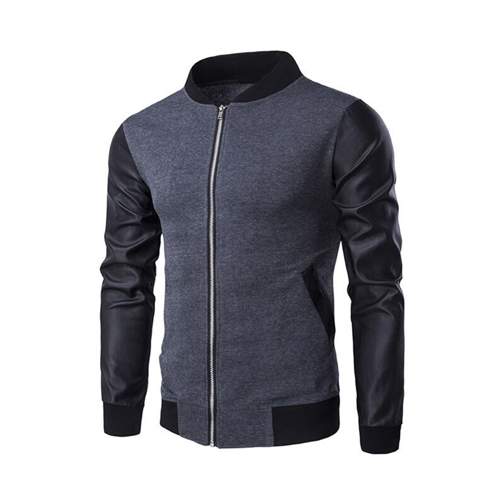 Casual Zippered Top Stand Collar Coat Long Sleeves Baseball Jacket Outwear for Man gray_(XXL)