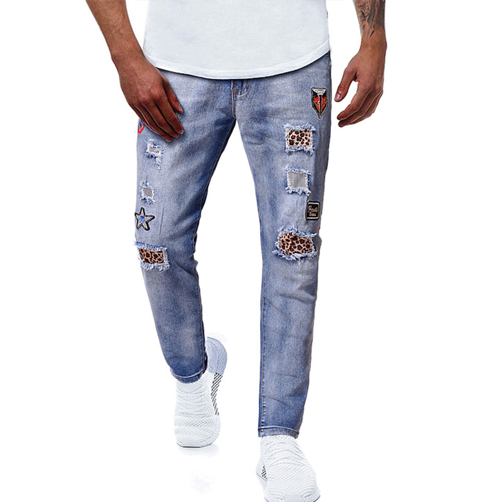 Men Embroidery Jeans Autumn Winter Blue Ripped Jeans Pants Blue_L