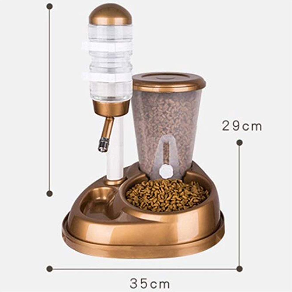 Automatic Feeder with Large Capacity Water Fountain Bottle for Pet Cat Dog Gold_Grain storage bucket