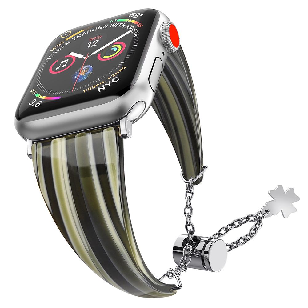 Stylish Waterproof Resin Metal Adjustable Strap Watch Band for Apple Watch1/2/3/4 Wood grain 38MM