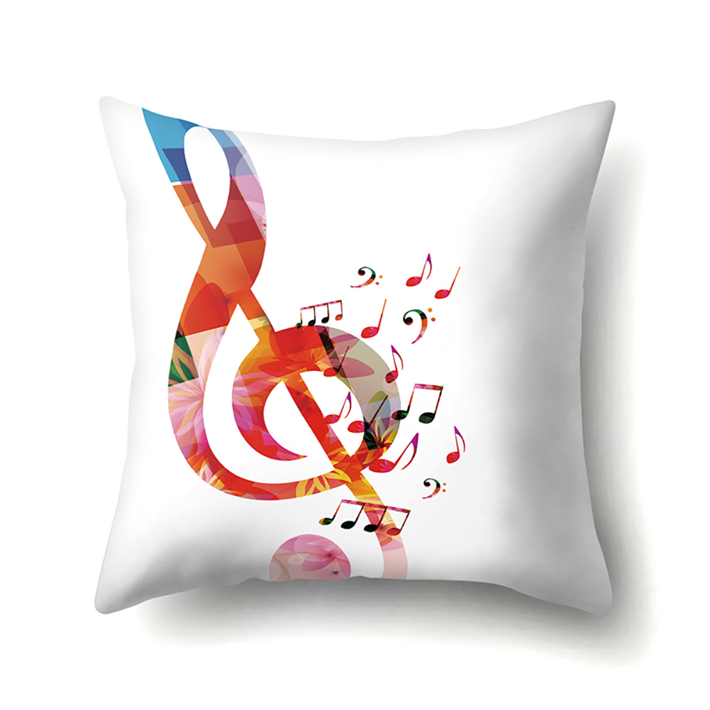 Square Music Note Pillowcase Cushion Throw Pillow Cover Printed Living Room Sofa Pillow Case 45*45cm CCA416(1)