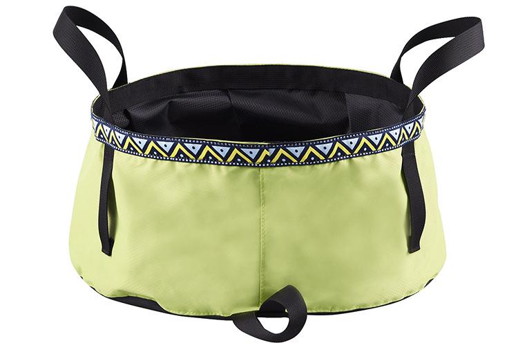 6/8/12L Folding Washing Basin 8.5L Outdoor Hiking Camping Bucket Portable Water Pot Bean green_6L