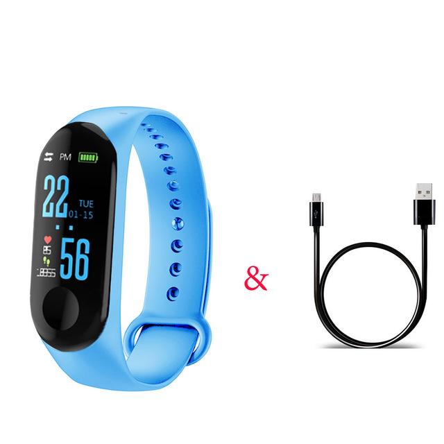 M3 Pro Smart Watch Sport Band Blood Pressure Sleep Monitor Drinking Remind Wristband Bracelet Light blue