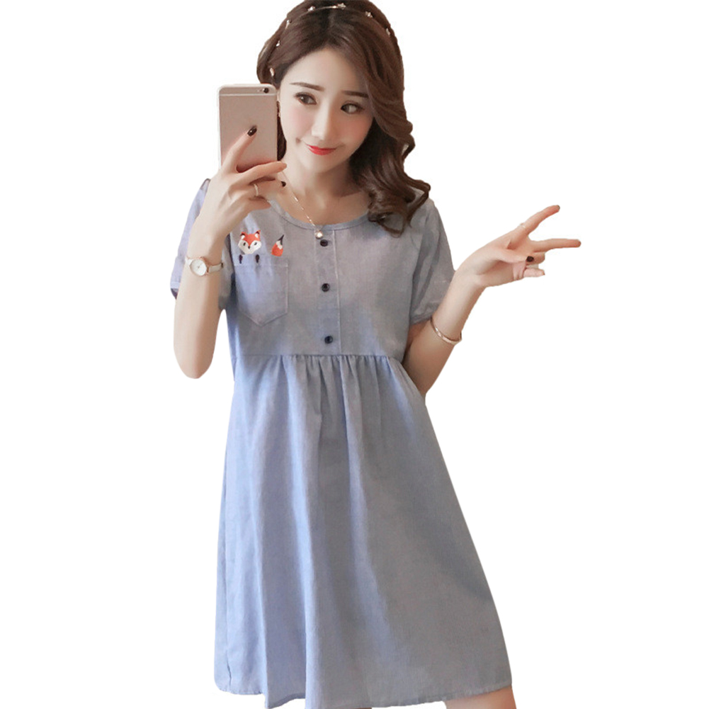 Maternity Dress Cotton And Linen Button Round Neck Loose Breathable Pregnant Woman Clothes blue_M
