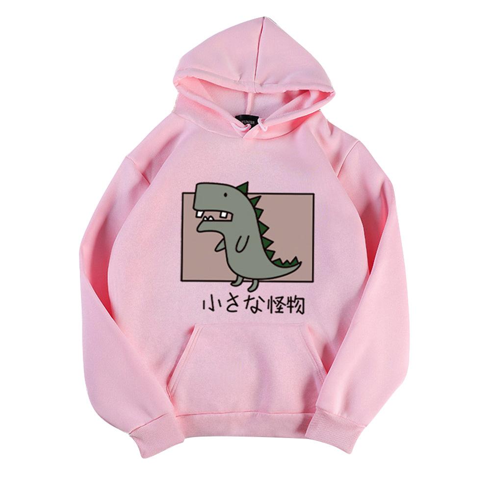 Boy Girl Hoodie Sweatshirt Cartoon Dinosaur Printing Spring Autumn Student Loose Pullover Tops Pink_XL