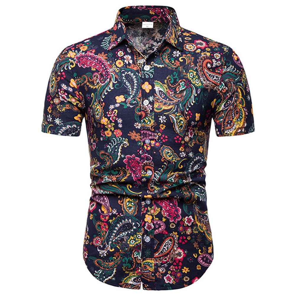 Men Summer Fashion Shirts Short Sleeve Pattern Printing Slim Tops Color_XXL