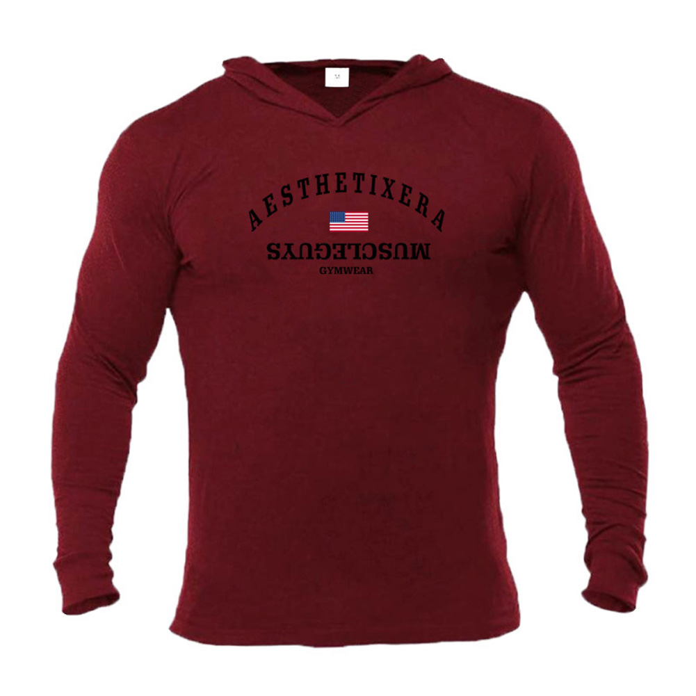 Male Hoodie with Letters Printed Long Sleeves Top Leisure Pullover Slim Sports Wear Red wine_XXL
