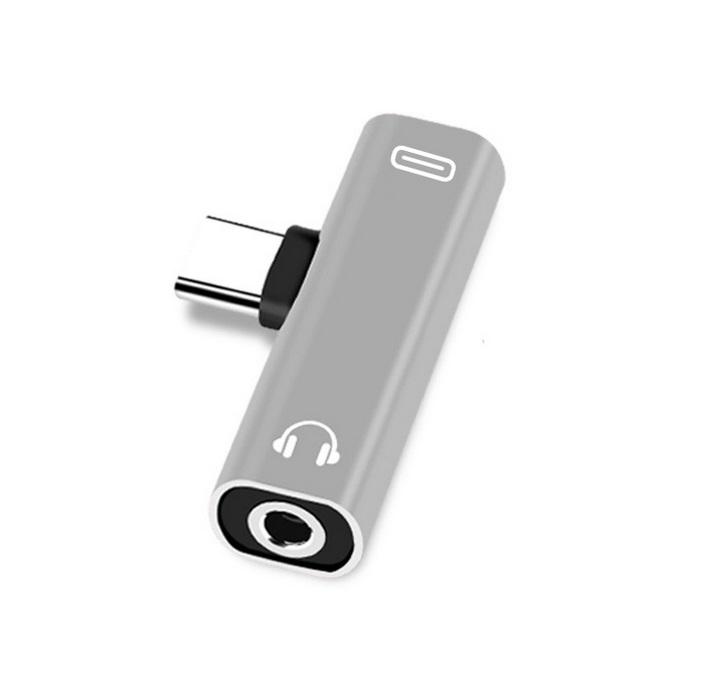 Dual Type C USB-C Earphone Headphone Audio Charging Charger Adapter Splitter Convertor for Xiaomi 6 6X 8 Note3 Mix 2 Huawei Mate 10 P20  Silver