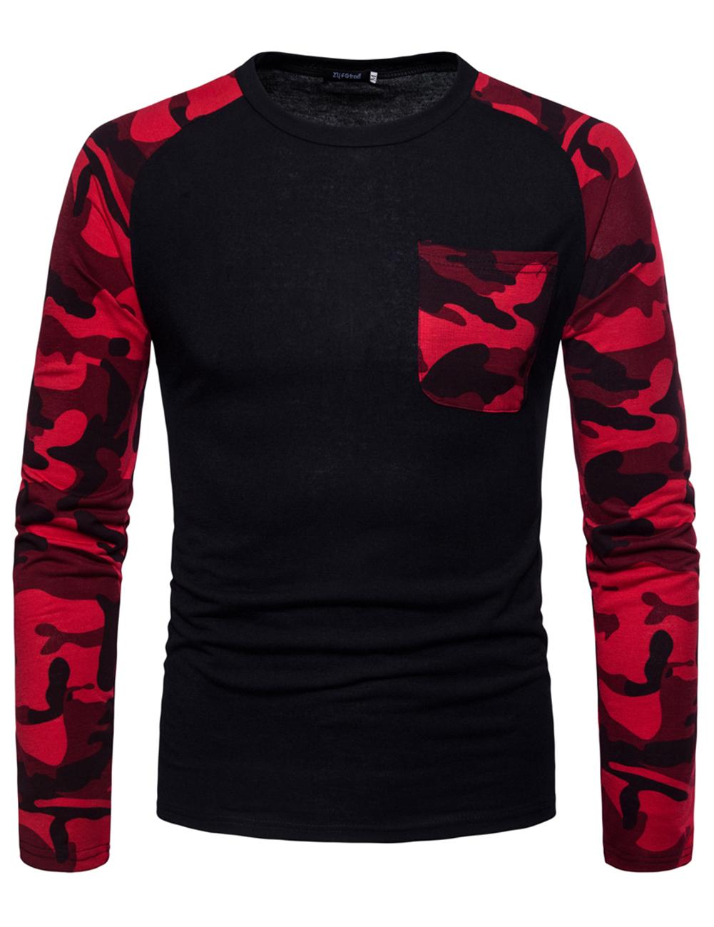 Man Stylish Long-Sleeve Sweater Camouflage Round Collar T-Shirt Tops Coat black_2XL