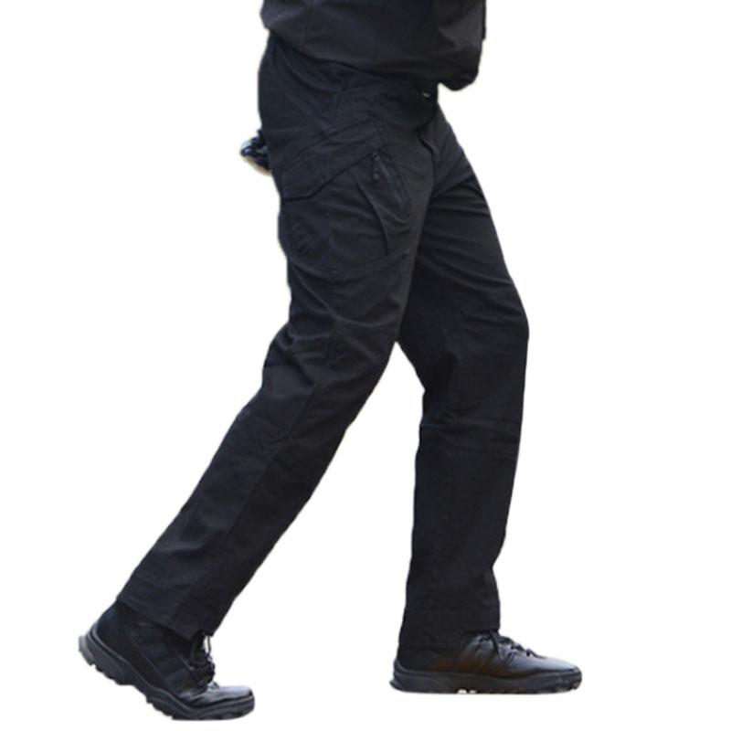 Men Outdoor Military Fan Multi-pockets Pant Breathable Cotton Casual Pants black_L