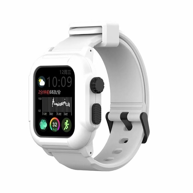 Waterproof Case for Apple Watch Band 4 iWatch Bands Silicone Strap 44mm 40mm Bracelet Smart Watch Accessories  white_44MM