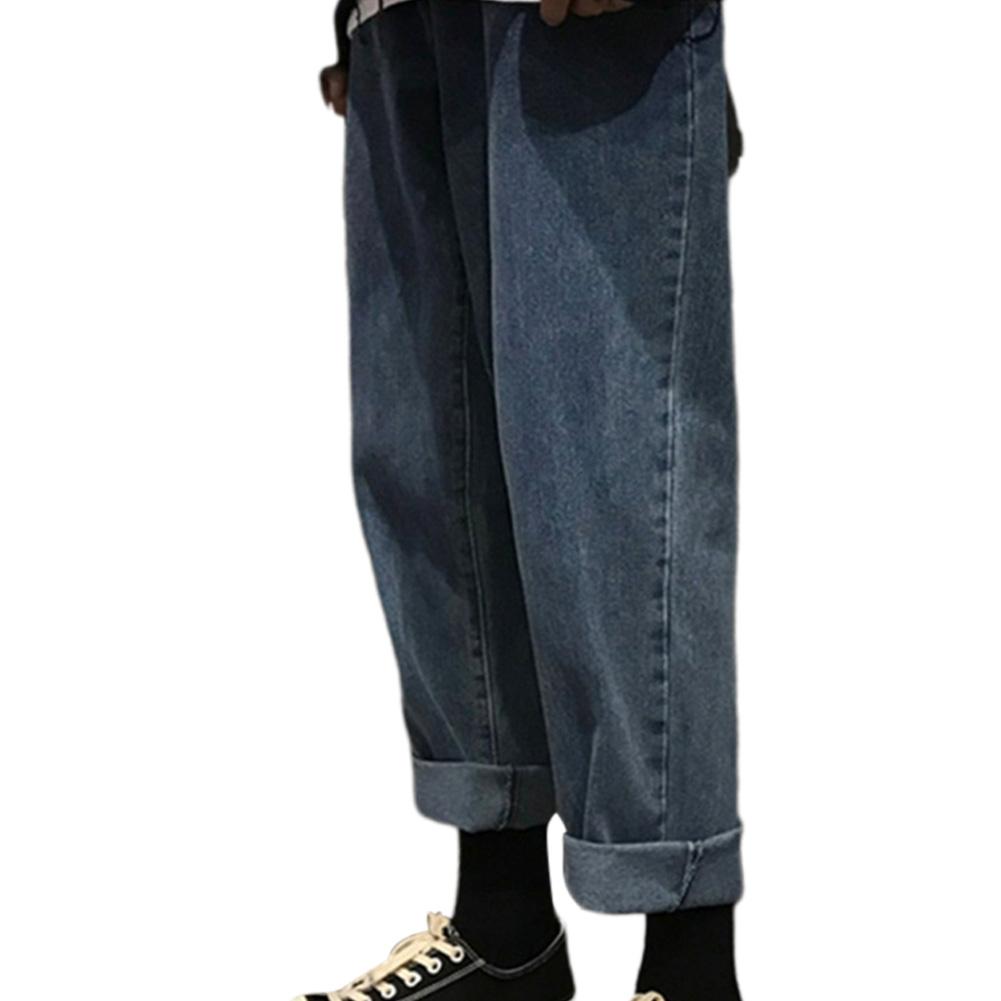 Men Jeans Denim Pants Straight Bottom Loose Casual Male Trousers  Blue_XL