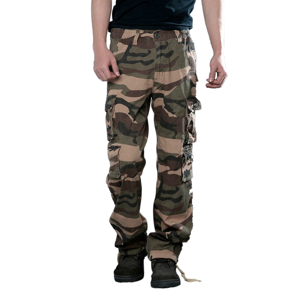 Men Camouflage Multiple Pockets Casual Long Trousers  yellowish brown camouflage_36 (2.77 feet)