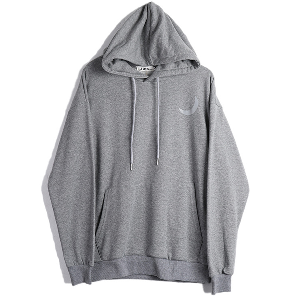 Man Fashion Autumn And Winter Warm Loose Hooded Sweater Printing Hoodie Tops gray_L