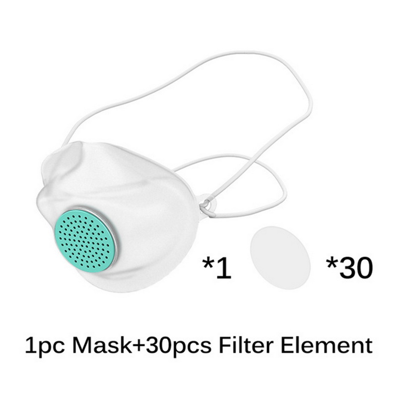 Silicone Masks 30pcs Filter Paper Face Mouth Mask Anti-dust Mask Filter Replacement Health Care white