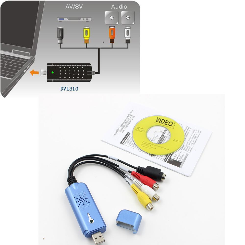 USB2.0 Converter Audio Video Capture Grabber Adapter for Win/XP/7/8/10 PAL KY USB Video Capture Card blue