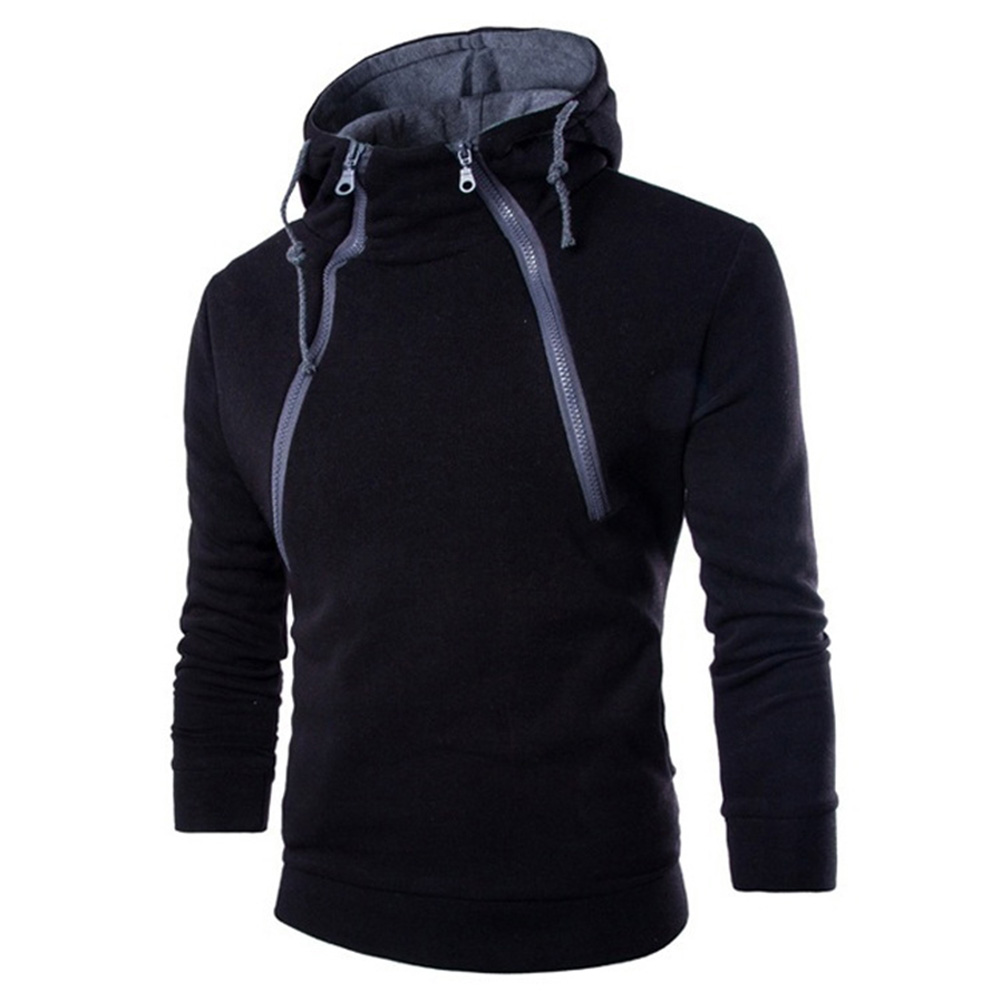 Men Casual Sports Long Sleeve Double Zipper Hoodie Simple Solid Color Hooded Sweatshirt  black_L
