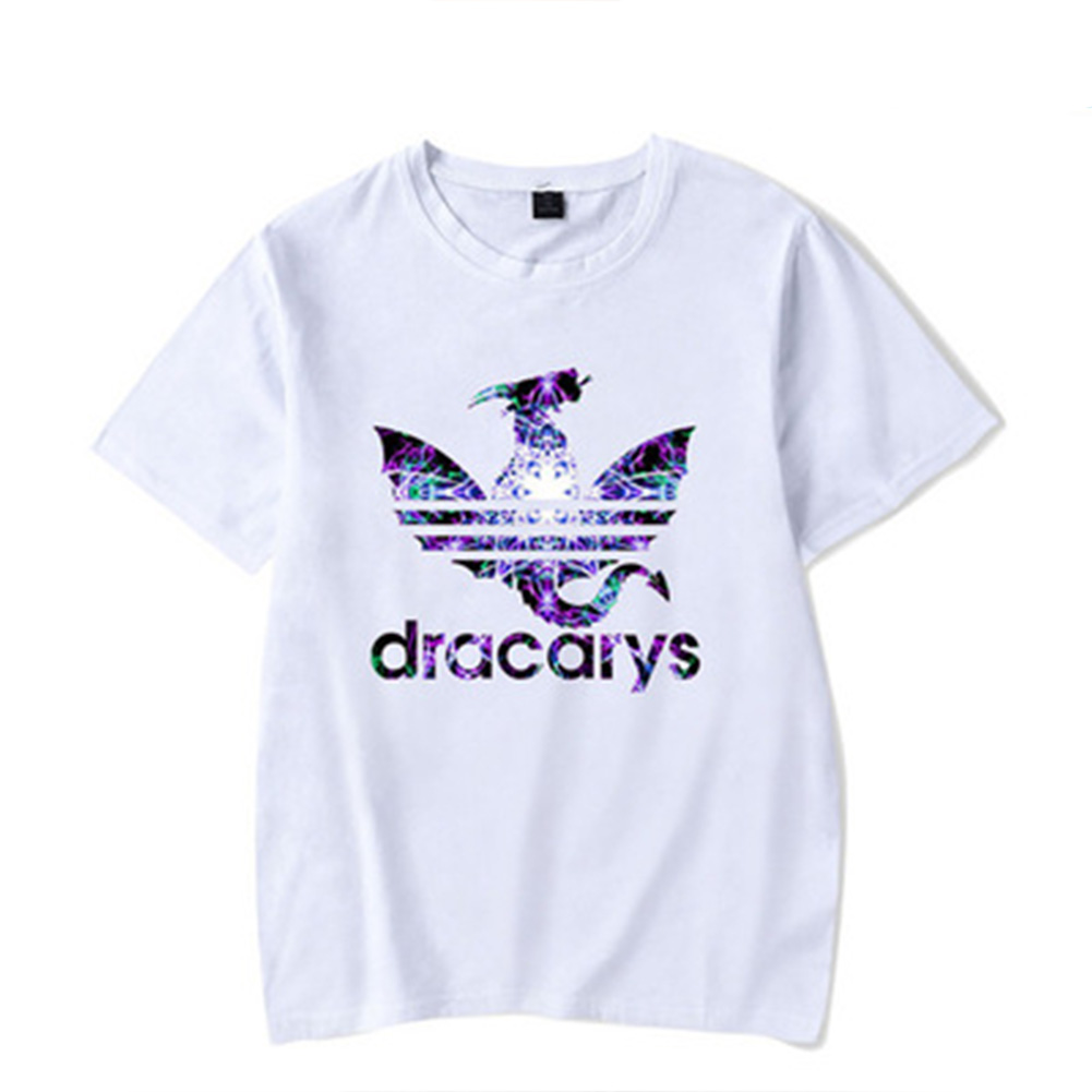 Women Men Fashion Casual Floral Dracarys Printing Short Sleeves Round Neck T-Shirt White JJ_S