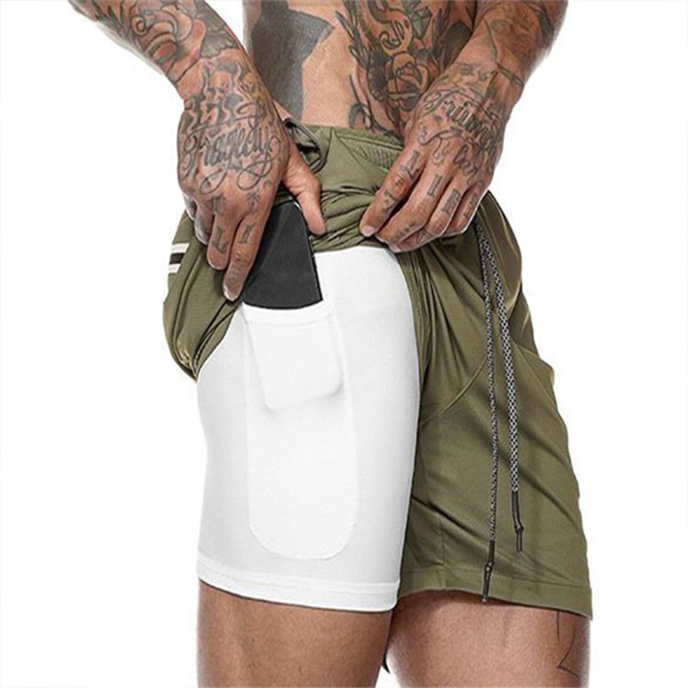 Men Large Size Fitness Training Jogging Sports Quick-drying Shorts green_M