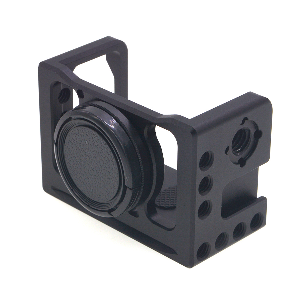 RX0-2 Camera Cage Mount for Sony RX0 II Protective Metal Vlogging Holder with Cold Shoe 37mm Lens Filter Adapter 1/4'' 3/8''  black