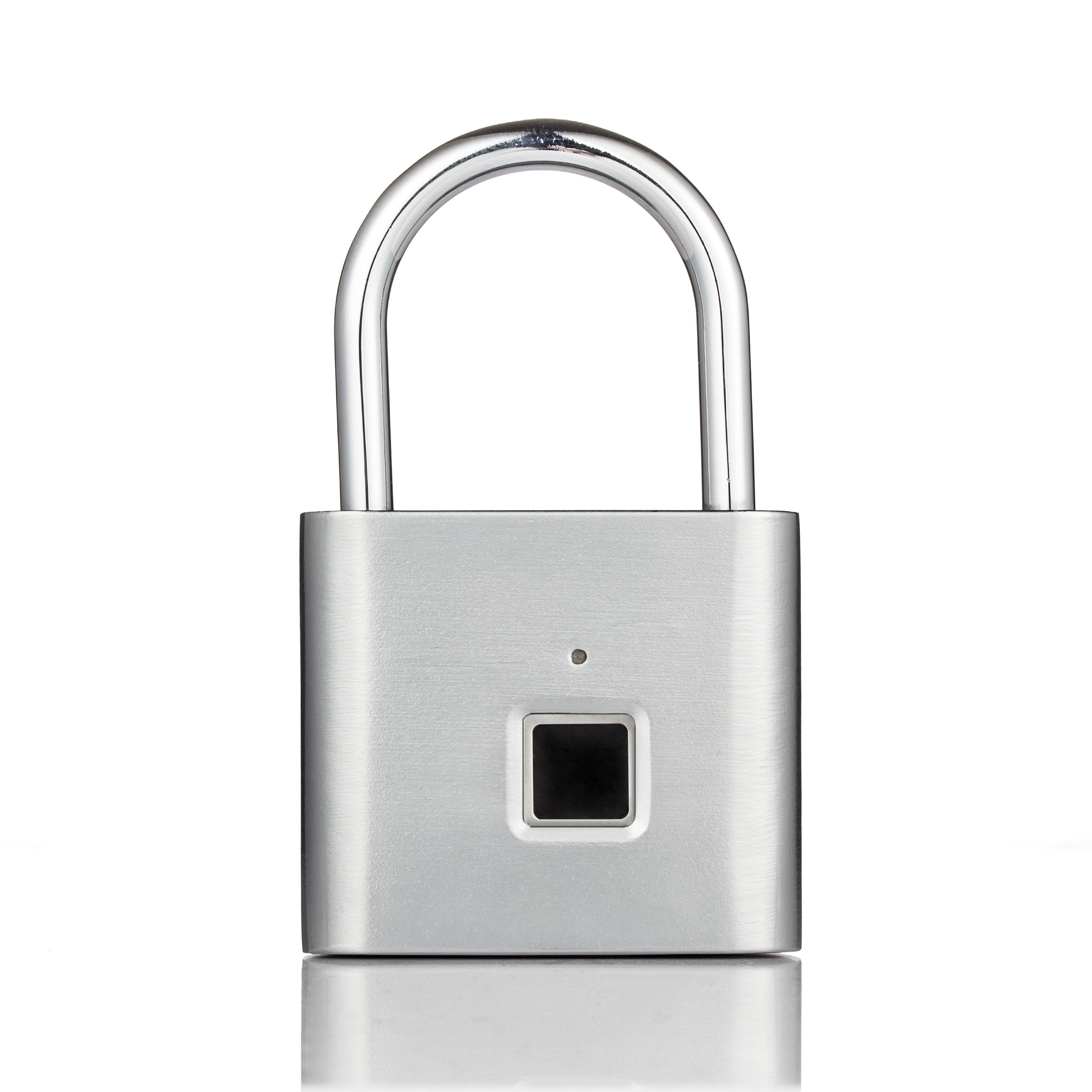 Security Keyless USB Rechargeable Door Lock Fingerprint Smart Padlock Quick Unlock Zinc Alloy Metal Self Developing Chip Silver