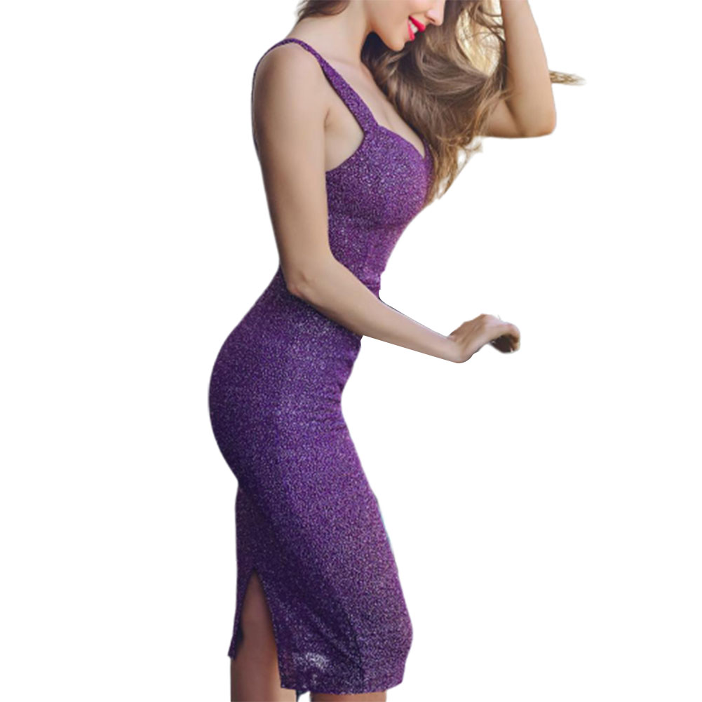 Women Sexy Slim Sleeveless Glittering Formal Dress for Party Wear purple_L