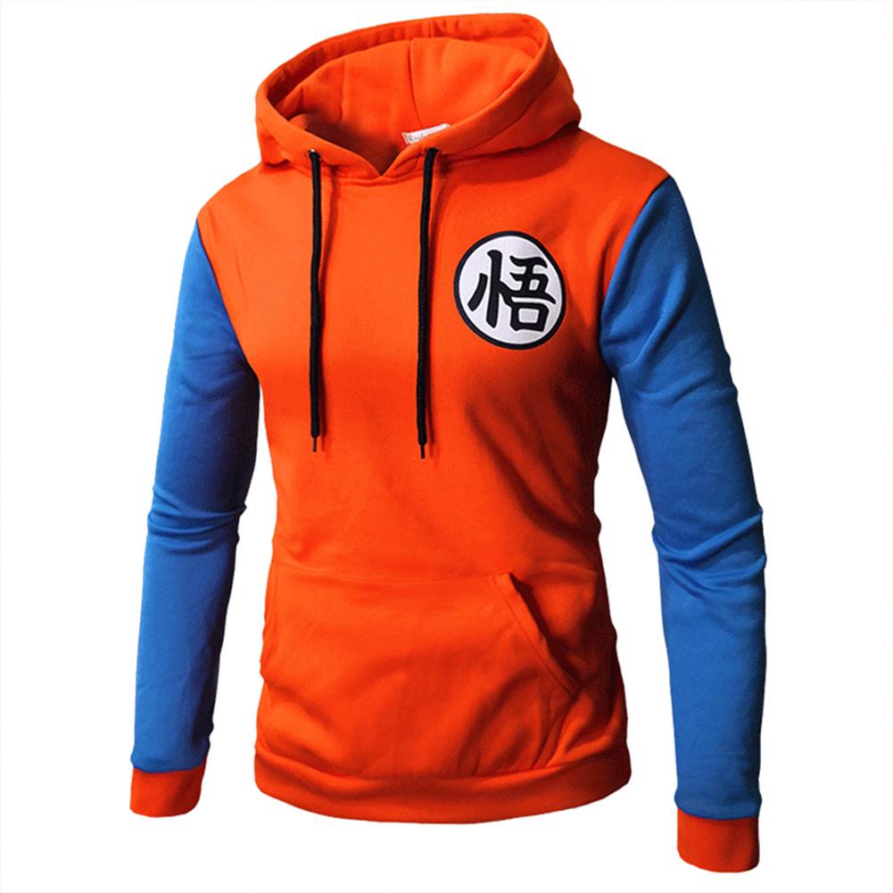 Warm Characters Printing Series Casual Baseball Hoodie Orange blue_M