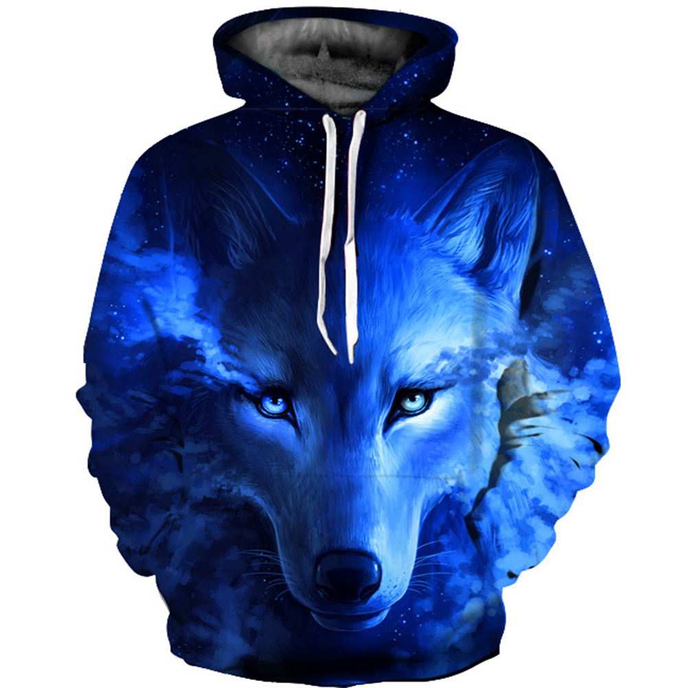 Men Women 3D Blue Wolf Digital Printing Hooded Sweatshirt Blue wolf_M