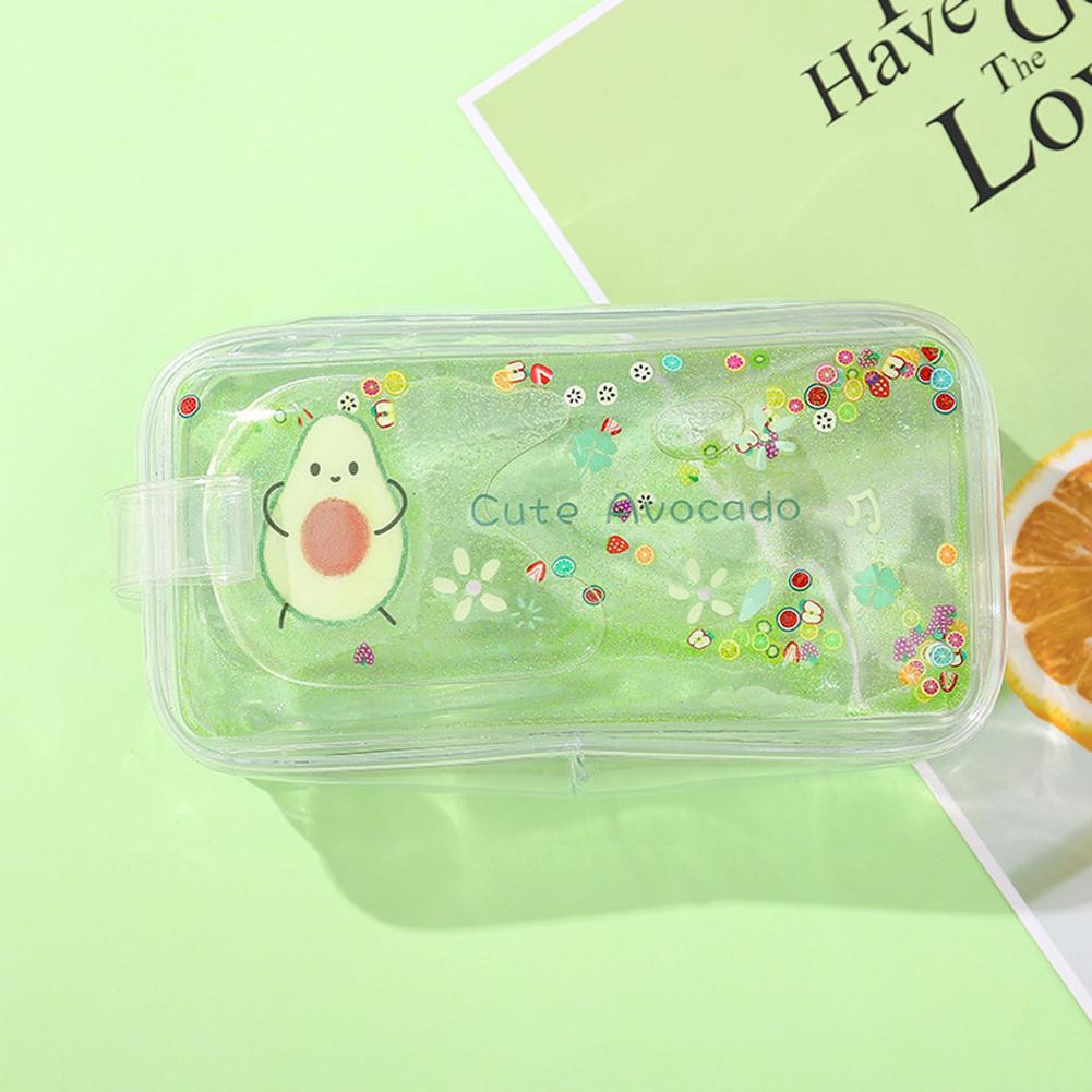 Avocado Transparent Pencil Case Cartoon Peach Large Capacity Pencil Case Hug yourself