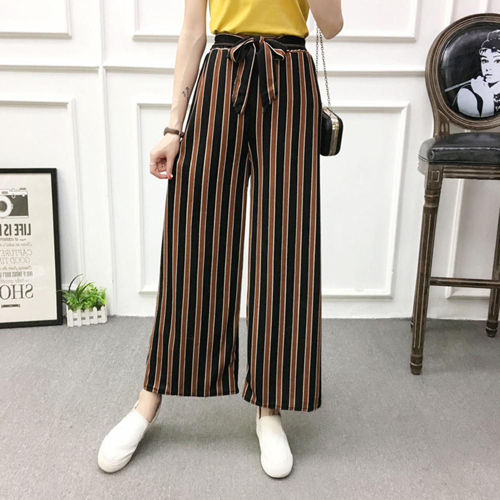Women Black High Elastic Waist Ninth Loose Pants for Summer Wear Coffee strip_One size