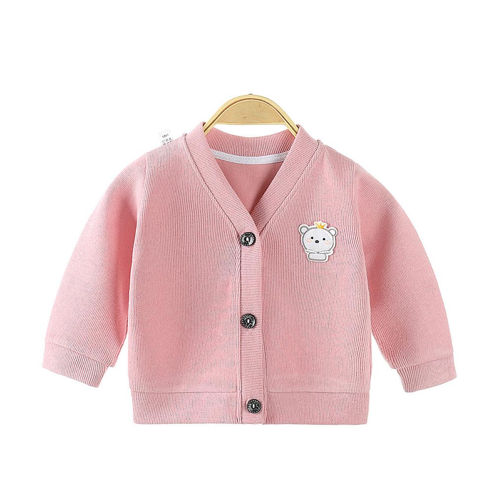 Children's Sweater Cardigan Cartoon Pattern Jacket for  0-3 Years Old Kids Pink_80cm