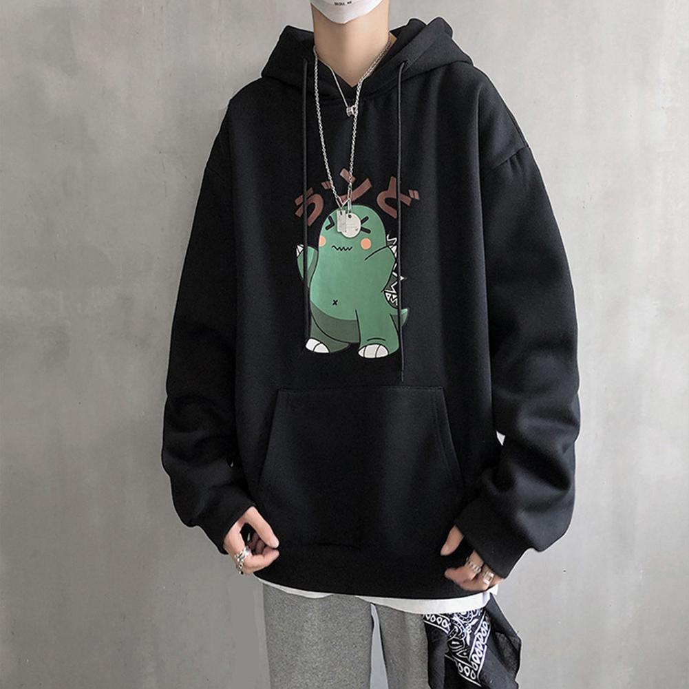 Men Hip-hop Hoodie Sweatshirt Autumn Winter Cartoon Animal Couple Loose Casual Pullover Tops black_L