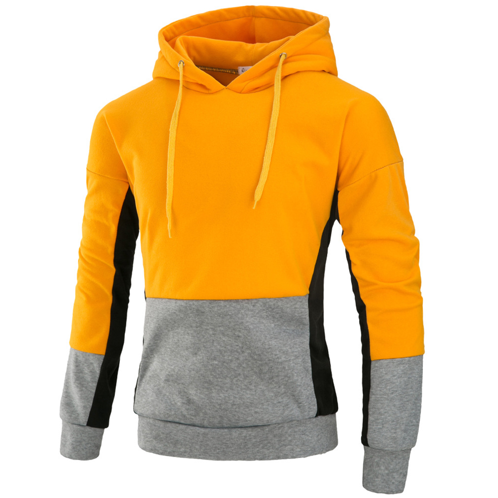 Men Autumn Stitching Hooded Pullover Casual Long Sleeve Sweater Coat Tops yellow_3XL