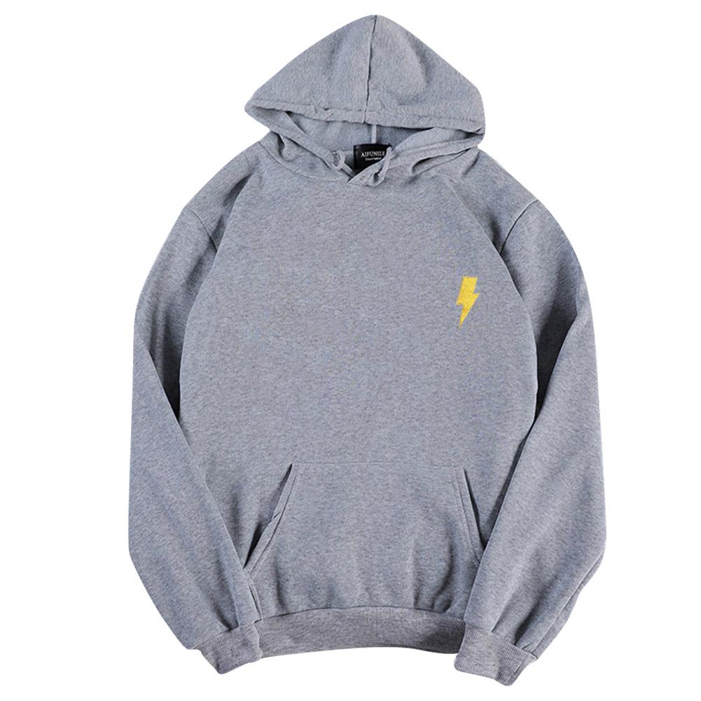 Men Women Hoodie Sweatshirt Thicken Velvet Flash Loose Autumn Winter Pullover Tops Gray_L