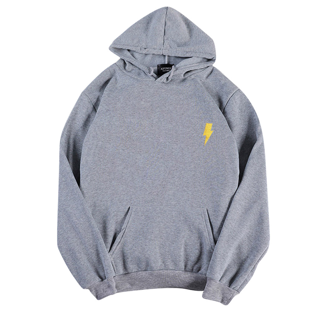 Men Women Hoodie Sweatshirt Thicken Velvet Flash Loose Autumn Winter Pullover Tops Gray_M