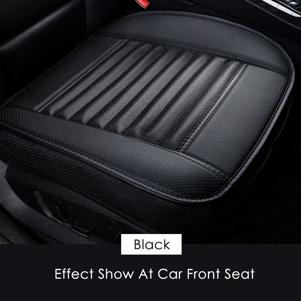 Car Front Seat Cover PU Non-slip Car Seat Cushion Cover for Four Seasons black