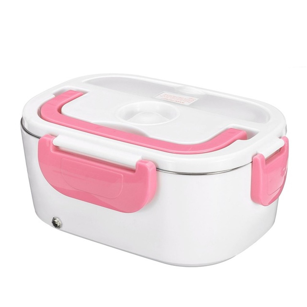 2 In 1 Electric Heating Lunch  Box Thermal Food Warmer Container For Home Car Eu Plug Pink