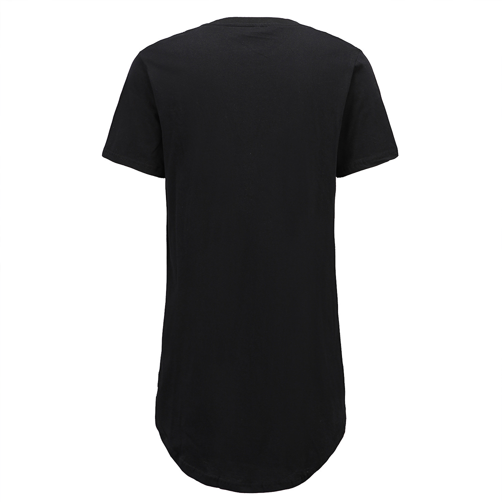Men Fashion Casual Loose Round Hem Elongated Solid Color T-shirt black_XXL