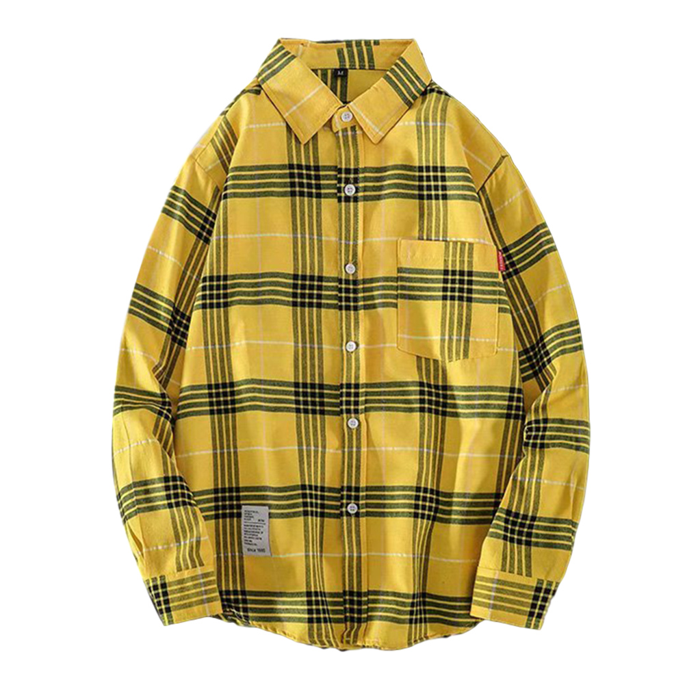 Men's Shirt Casual Long-sleeved Lapel Plaid Pattern Slim Shirt Yellow _M