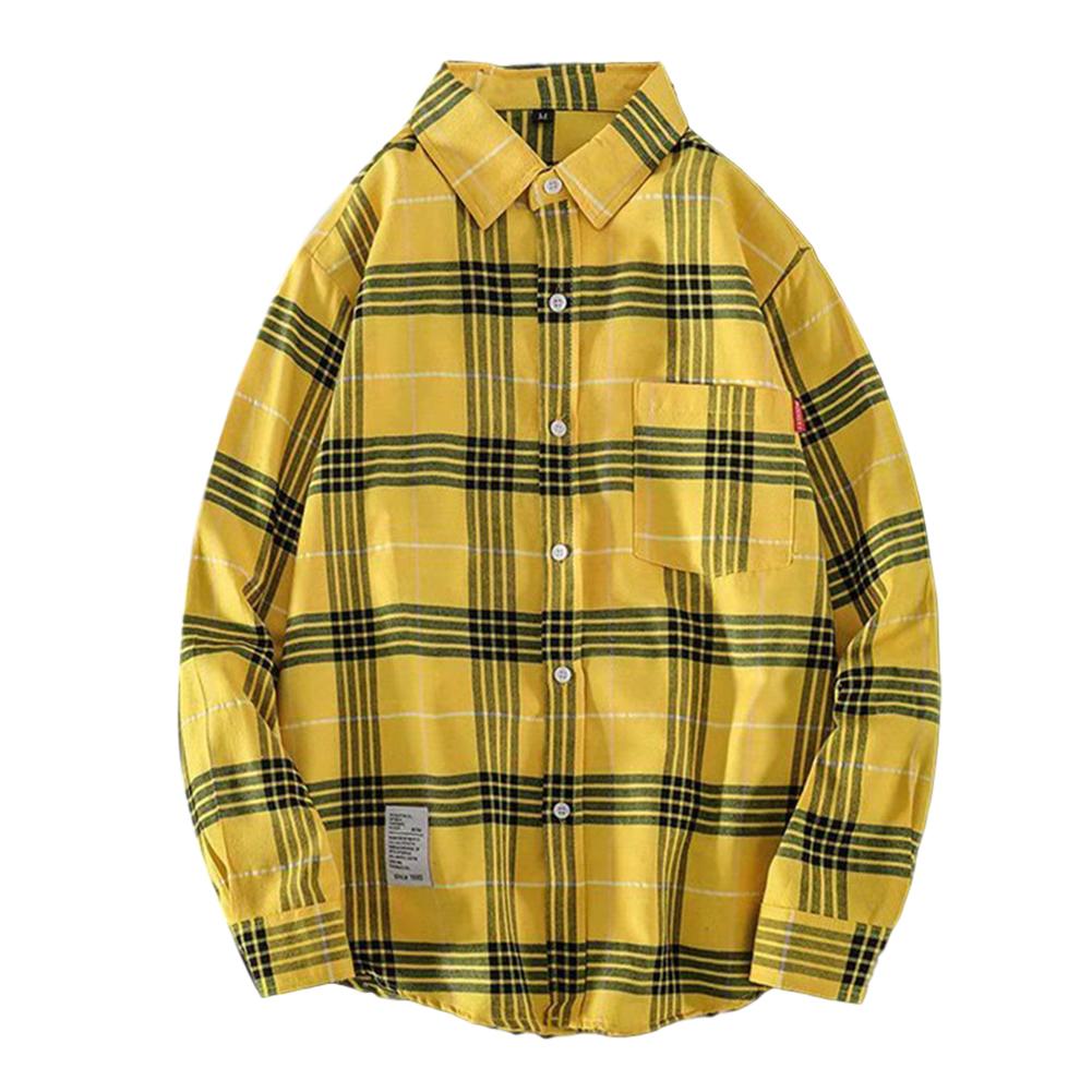 Men's Shirt Casual Long-sleeved Lapel Plaid Pattern Slim Shirt Yellow _L