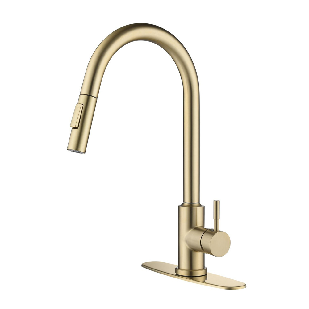 [US Direct] Single-handle Stainless Steel Kitchen  Faucet Copper Sink Faucet With Pull-down Sprayer gold