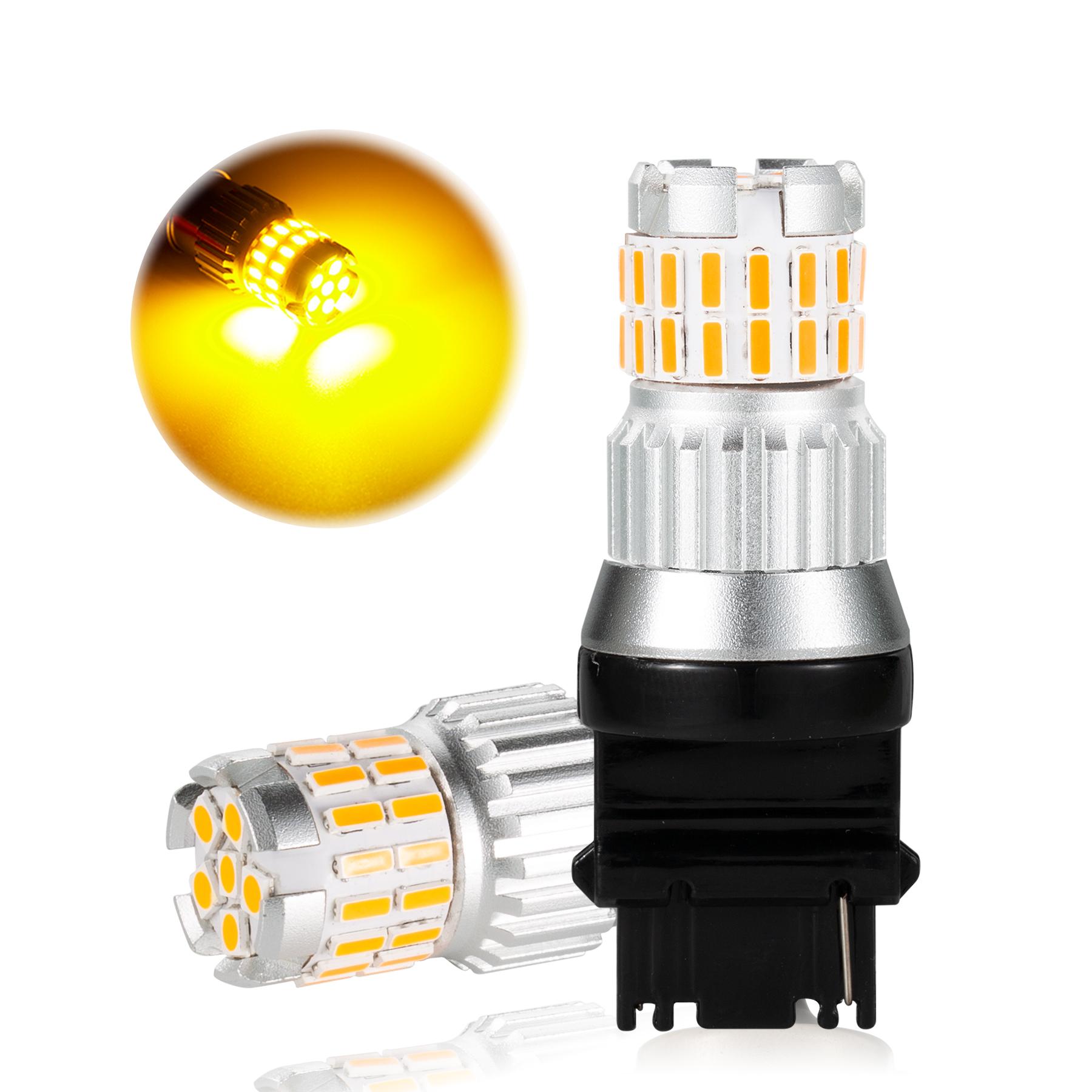 2pcs Fast Heat Dissipation LED Bulb for Car Canbus Waterproof Light 6500K   T25 yellow light