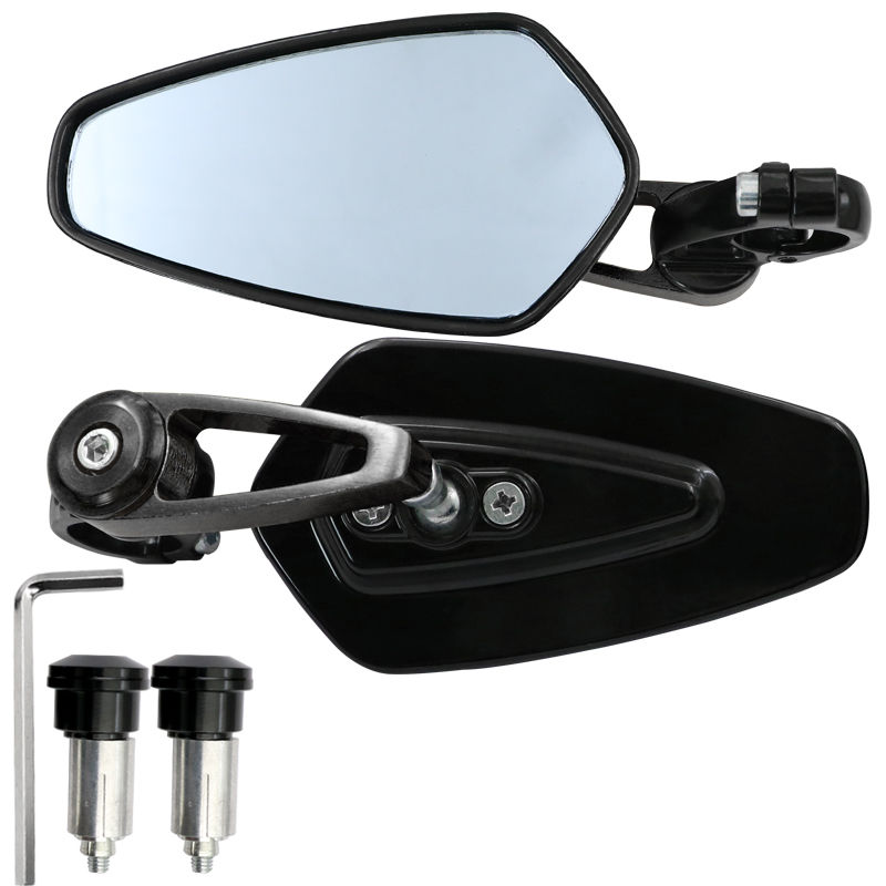 1 Pair Motorcycle Handle Bar End Side Mirror Rearview Rear View for MSX125 black